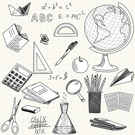 clip art draw: Back to school theme background.