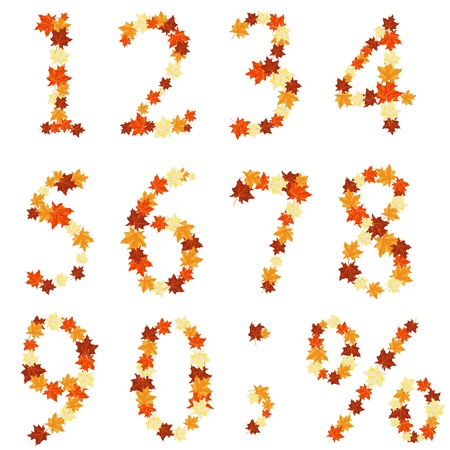 Autumn maples leaves numeral set. Vector