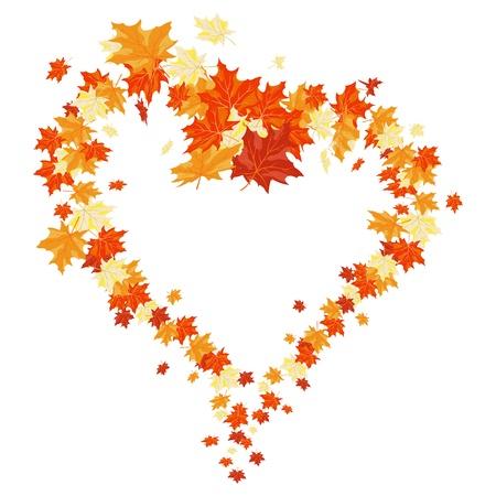 szeptember: Őszi juharfák hulló levelek háttérben. Illusztráció