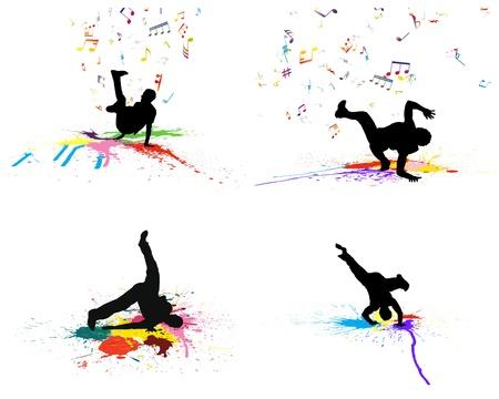 Grunge dance background set with blobs.  Illustration