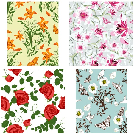 filling: Seamless floral pattern. For easy making seamless pattern just drag all group into swatches bar, and use it for filling any contours.
