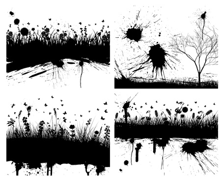 grass line: Abstract grunge background set with grass and flowers. Illustration