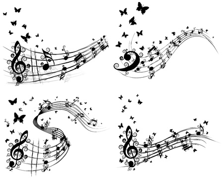notes music: Set of musical background with butterfly.