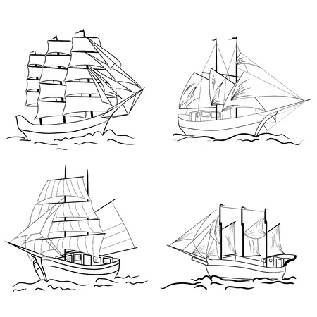 Set of sketch sailing vessel.  Vector