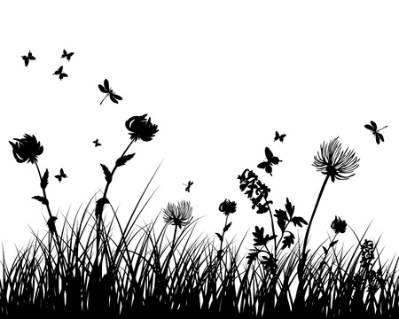 butterflies flying: Vector grass silhouettes background. All objects are separated. Illustration