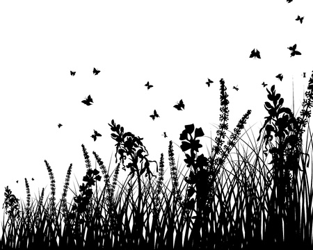grass silhouettes background. All objects are separated. Stock Vector - 14853792