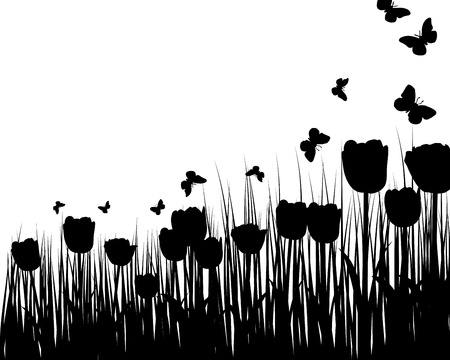 grass silhouettes background. All objects are separated. Stock Vector - 14853785