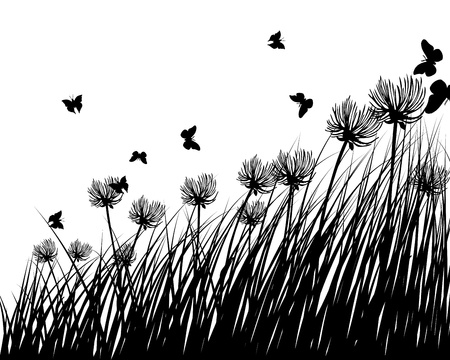 grass silhouettes background. All objects are separated. Stock Vector - 14853782