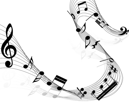 Musical notes staff background on white. Illustration