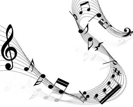 simbolos musicales: Notas musicales personal de fondo en blanco.