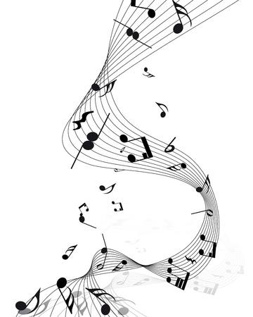pentagrama musical: Notas musicales personal de fondo en blanco.