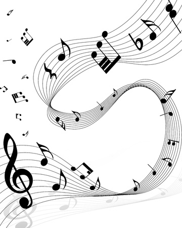 clave de fa: Notas musicales personal de fondo en blanco.