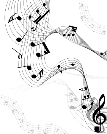 minim: Musical notes staff background on white. Illustration