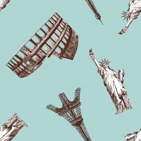 colosseo: Seamless detailed landmark silhouette pattern. illustration.