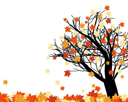 Autumn maples falling leaves background. illustration.
