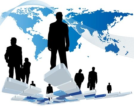 Worldwide business theme with silhouettes of man and map. illustration. Ilustração