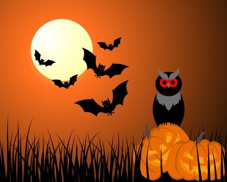 Happy halloween theme greeting card. illustration. Illustration