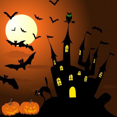 Happy halloween theme greeting card. illustration. Vector