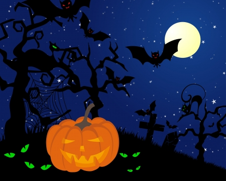 Happy halloween theme greeting card. illustration. Stock Vector - 14899188