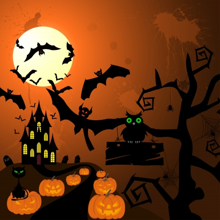 Happy halloween theme greeting card. illustration. Stock Vector - 14899203