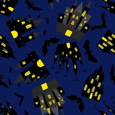 Happy halloween night seamless background. illustration. Vector