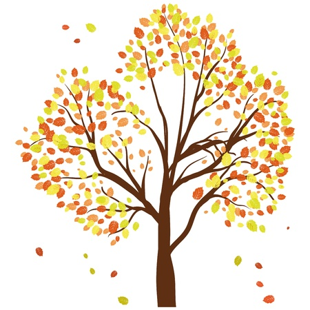 Autumn maples tree with  falling leaves background. Vector illustration. Vector