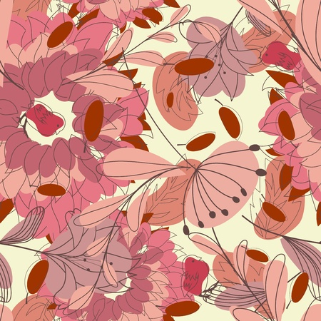 Seamless floral pattern. For easy making seamless pattern just drag all group into swatches bar, and use it for filling any contours. Stock Vector - 14970442