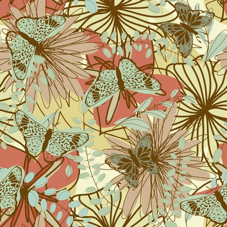 Seamless floral pattern. For easy making seamless pattern just drag all group into swatches bar, and use it for filling any contours. Stock Vector - 14970449