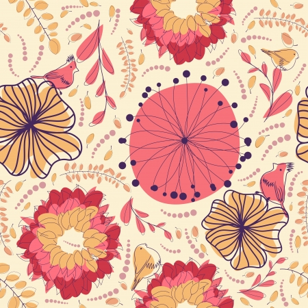 Seamless floral pattern. For easy making seamless pattern just drag all group into swatches bar, and use it for filling any contours. Stock Vector - 14970448