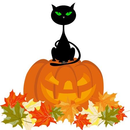 calabaza caricatura: Tema Happy halloween saludo tarjeta. ilustraci�n. Vectores