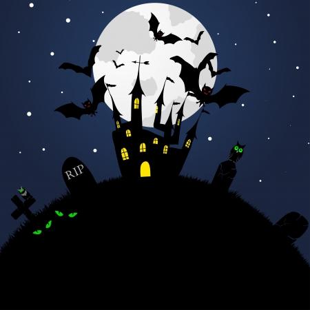 Happy halloween theme greeting card. illustration. Ilustração