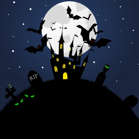 haunted: Happy halloween theme greeting card. illustration. Illustration
