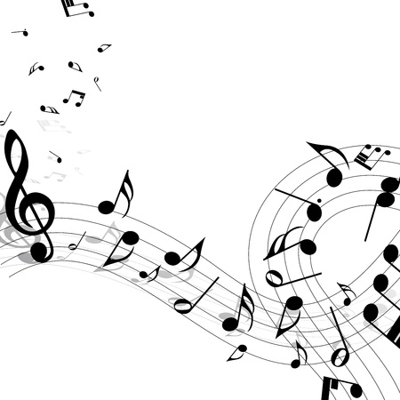 music staff: Musical notes staff background on white. illustration.