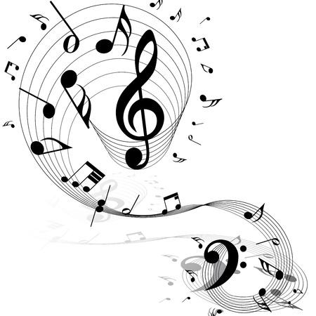 spartiti: Note musicali di sfondo personale su bianco. Illustrazione vettoriale.