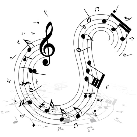 crotchets: Musical notes staff background on white. illustration.