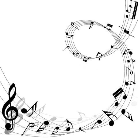 Muzieknoten personeel achtergrond op wit. illustratie. Stock Illustratie