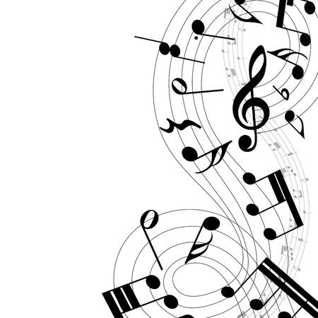 pentagrama musical: Notas musicales personal de fondo en blanco. ilustración.