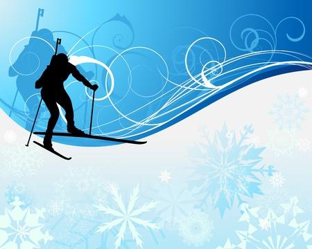 Sport background with biathlon athlete. illustration.