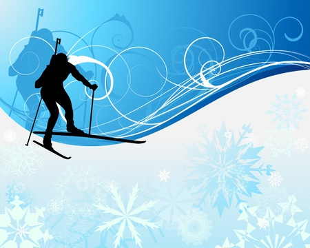 Sport background with biathlon athlete. illustration. Vector