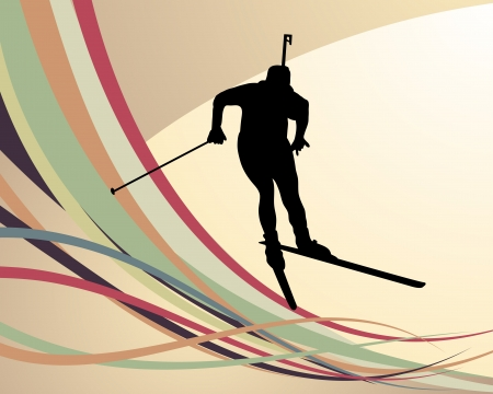 ski track: Sport background with biathlon athlete. illustration.