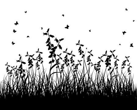 bee garden: grass silhouettes background. All objects are separated. Illustration