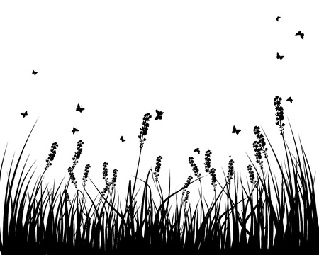 grass silhouettes background. All objects are separated. Stock Vector - 15014366