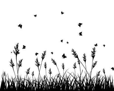 grass silhouettes background. All objects are separated. Stock Vector - 15007467