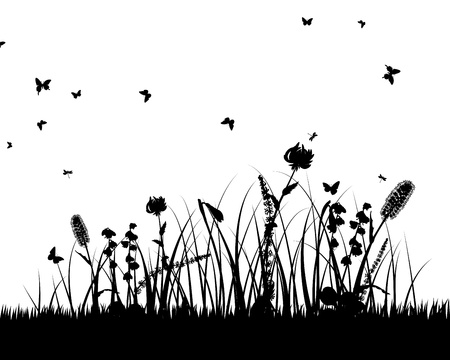 grass silhouettes background. All objects are separated. Stock Vector - 15014383