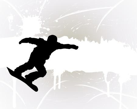 snowboarder: Sport background with snowboard athlete. Vector illustration.
