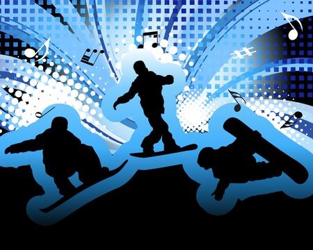 Sport background with snowboard athlete. illustration. Illustration