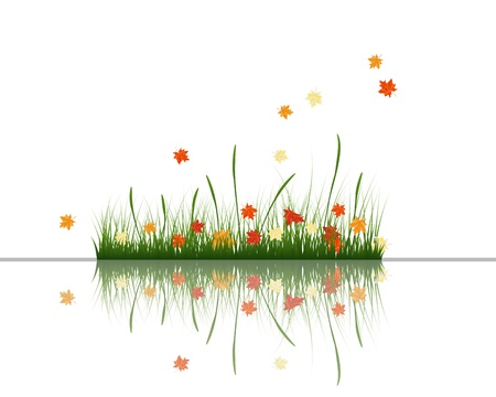 grass silhouettes background with reflection in water. All objects are separated. Stock Vector - 15014395