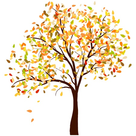 Autumn birch tree with  falling leaves background. illustration. Ilustração