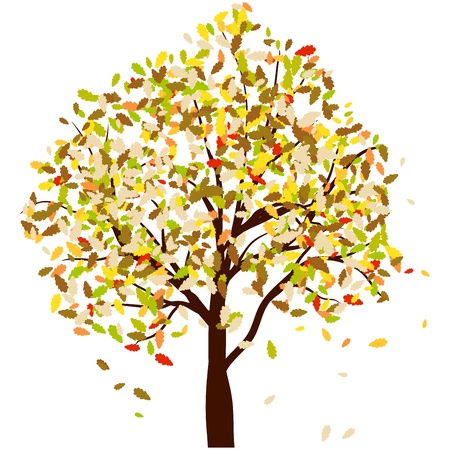 Autumn oak tree with falling leaves. illustration.