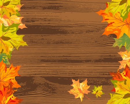 Autumn maple tree leaves on  wooden plank. illustration. Vector